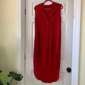 Designer silk hi-lo dress